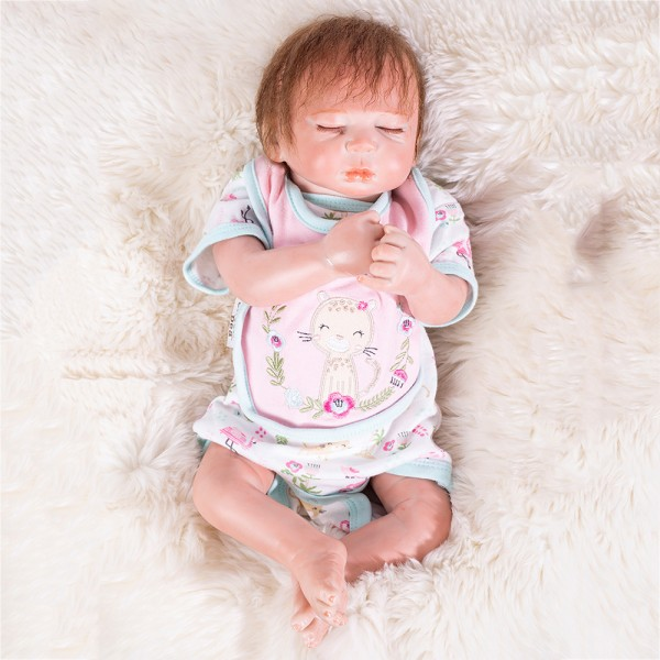 Sweet Dreams Cute Sleeping Baby Doll Silicone Lifelike Reborn Girl Doll 19inch