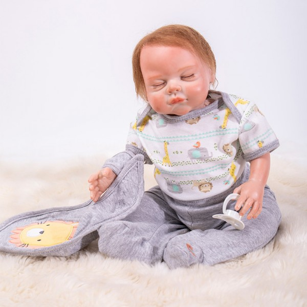 Sleepy Reborn Baby Doll In Grey Romper Silicone Lifelike Boy Doll 19inch