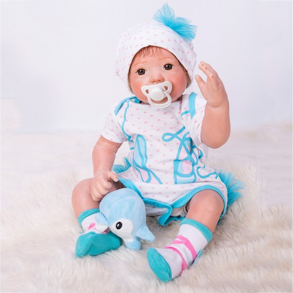 Realistic Reborn Baby Doll In Blue White Romper Lifelike Silicone Boy Doll 20inch