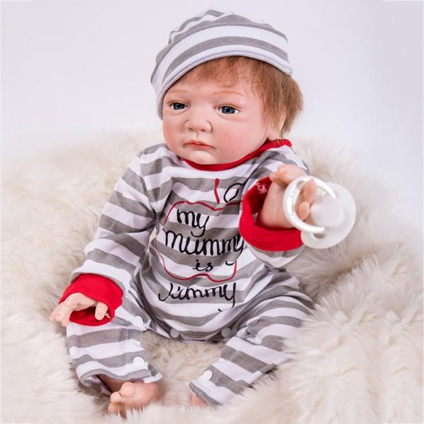 Reborn Baby Doll In Stripe Romper Lifelike Silicone Realistic Boy Doll 19inch