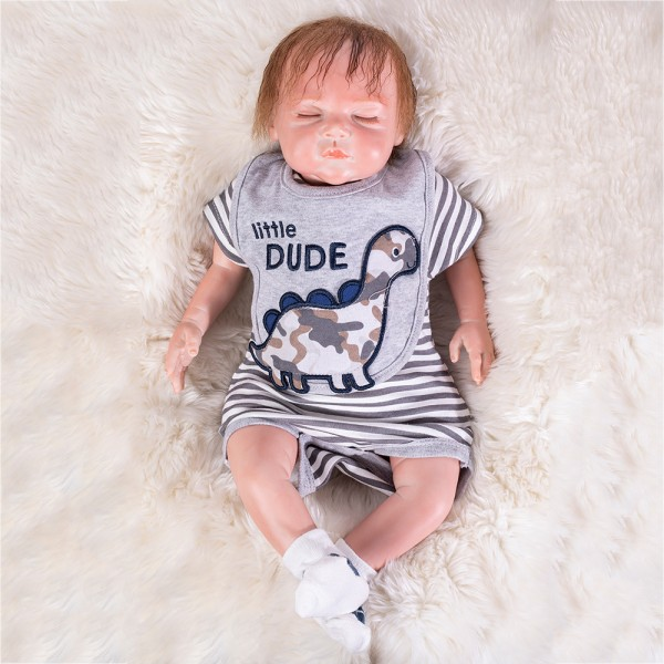 Silicone Sleeping Doll Lifelike Reborn Baby Boy Doll 19inch