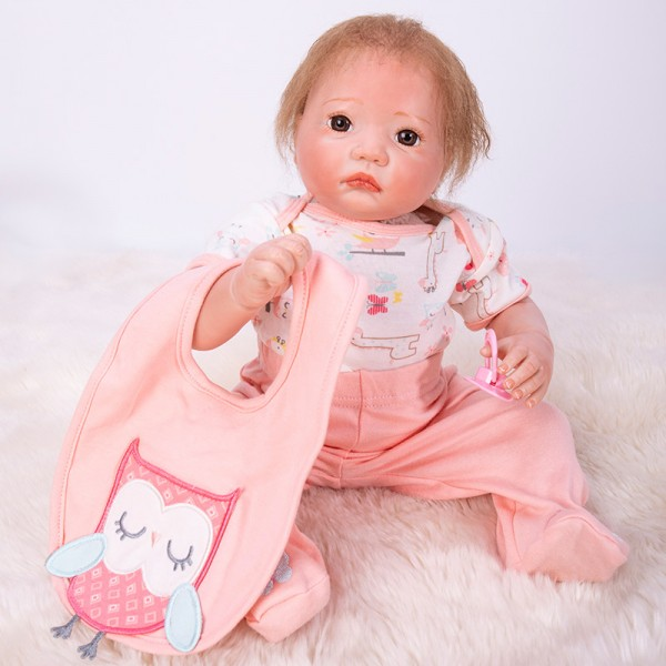 Life Like Reborn Baby Doll In Pink Romper Silicone Girl Doll 20inch
