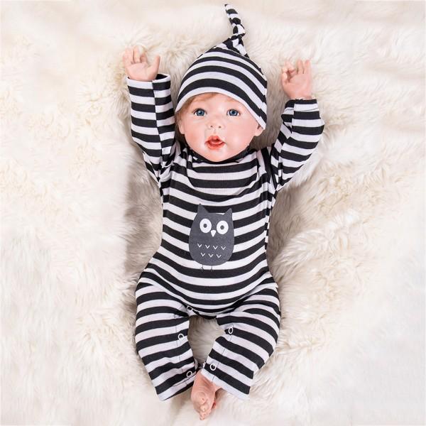 Cute Baby Doll In Stripe Romper Silicone Life Like Reborn Boy Doll 20inch