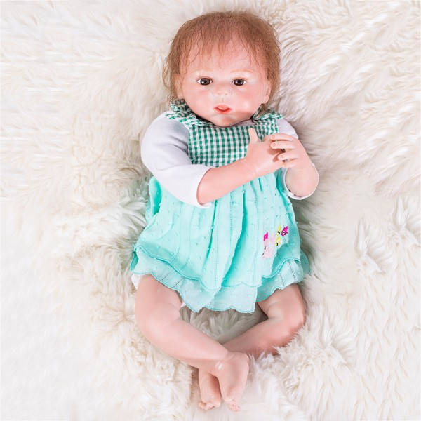 Reborn Girl Doll In Green Dress Lifelike Silicone Baby Doll 18inch