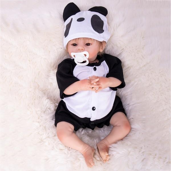 Cute Baby Doll In Panda Romper Silicone Life Like Reborn Boy Doll 18inch