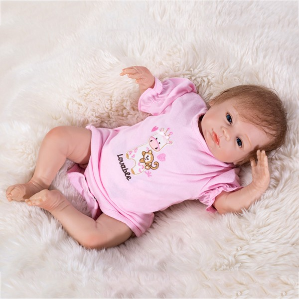 Cute Reborn Baby Doll In Pink Romper Mohair Silicone Girl Doll 18inch