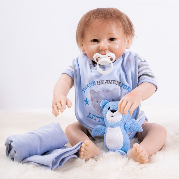 Silicone Baby Doll In Blue Romper Lifelike Reborn Boy Doll 18inch