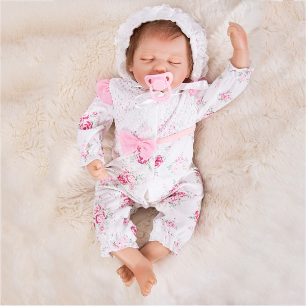 Silicone Sleeping Baby Doll In Floral Romper Lifelike Reborn Girl Doll 20inch