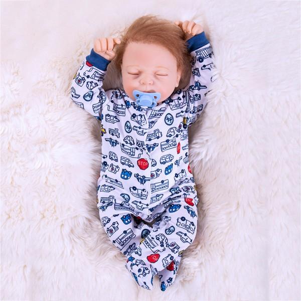Lifelike Silicone Sleeping Reborn Baby Doll Boy Doll 18inch