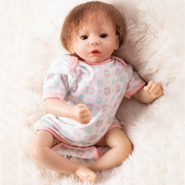Cute Reborn Girl Doll In Romper Lifelike Silicone Baby Doll 19inch