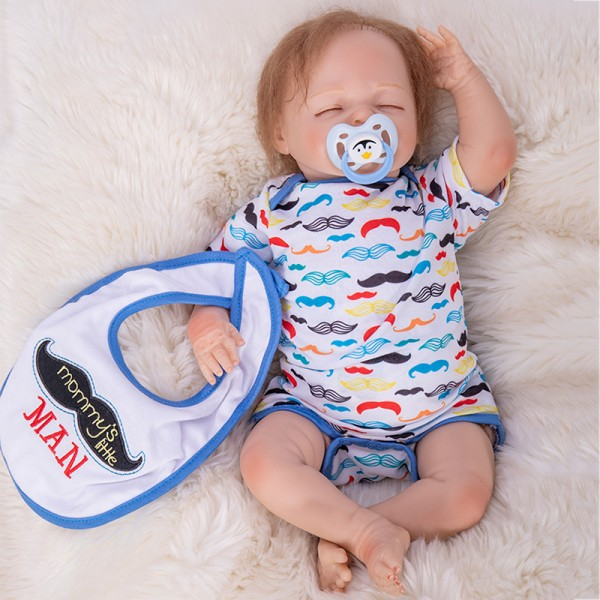 Sleepy Baby Doll Silicone Lifelike Reborn Boy Doll 18inch