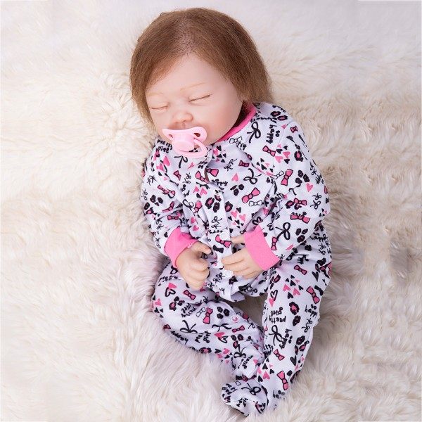 Sleeping Reborn Baby Doll Real Silicone Lifelike Girl Doll 19inch