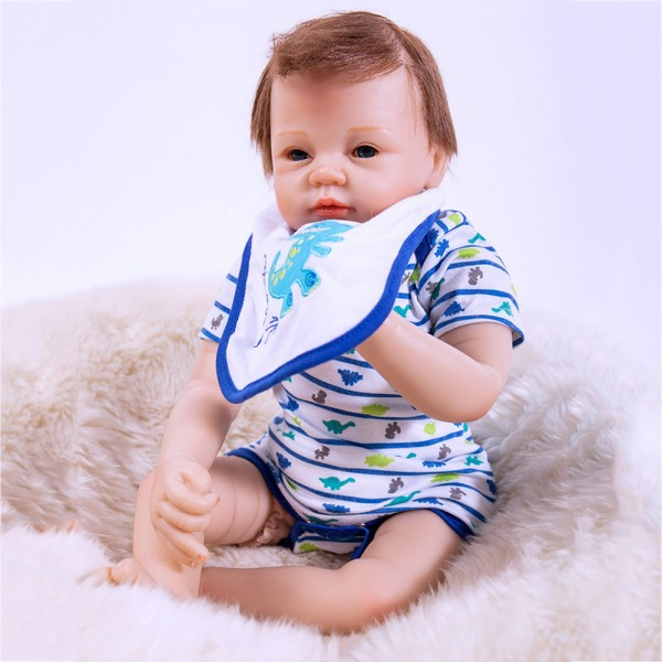 Baby Boy Doll In Stripe Romper Realistic Lifelike Reborn Doll 21inch