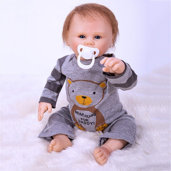 Reborn Baby Boy Doll In Grey Romper Lifelike Silicone Baby Doll 19inch