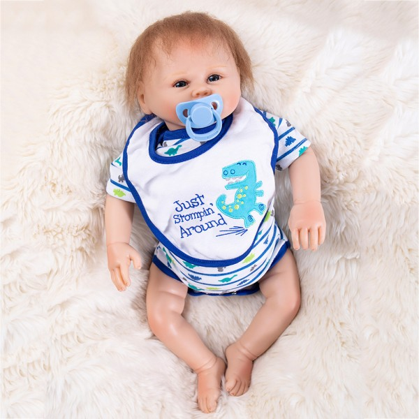 Hand Rooted Mohair Reborn Baby Doll Silicone Boy Doll 19inch