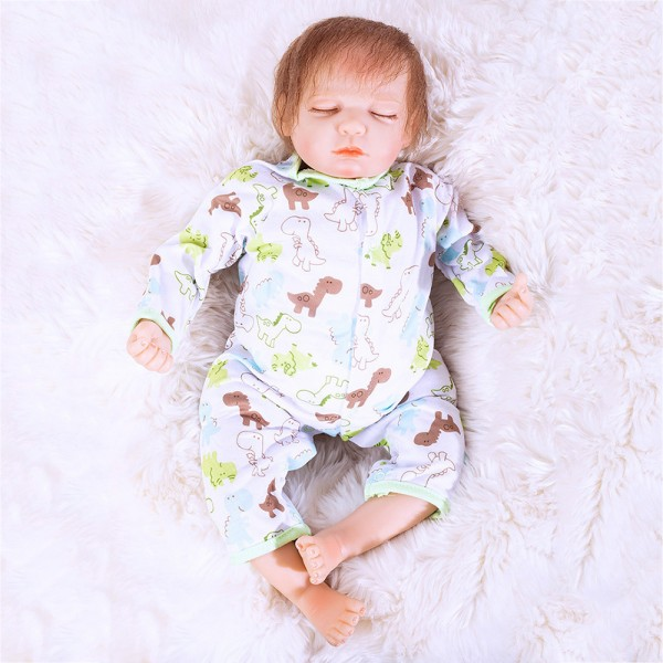 Hand Rooted Mohair Sleeping Baby Doll Silicone Reborn Boy Doll 20inch