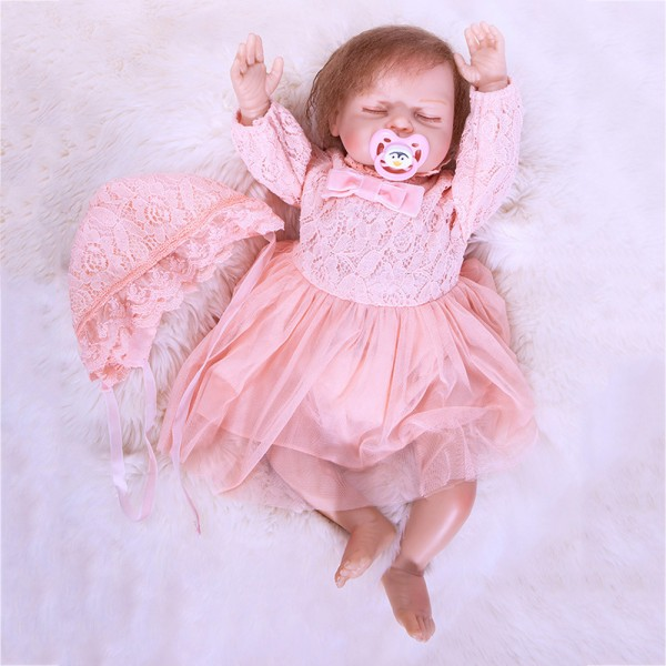 Sweet Sleeping Reborn Girl Doll In Pink Princess Dress Silicone Lifelike Doll 20inch