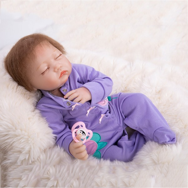 Sleeping Baby Doll In Purple Romper Silicone Lifelike Reborn Girl Doll 19inch