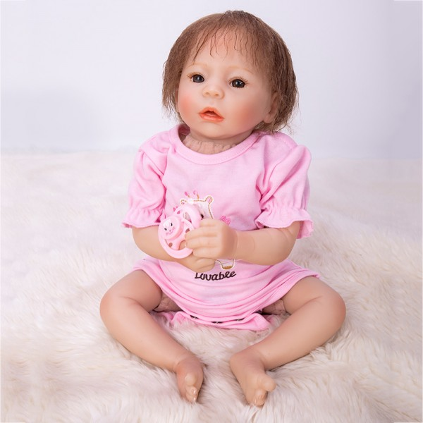 Lifelike Poseable Baby Doll Silicone Realistic Reborn Girl Doll 19inch