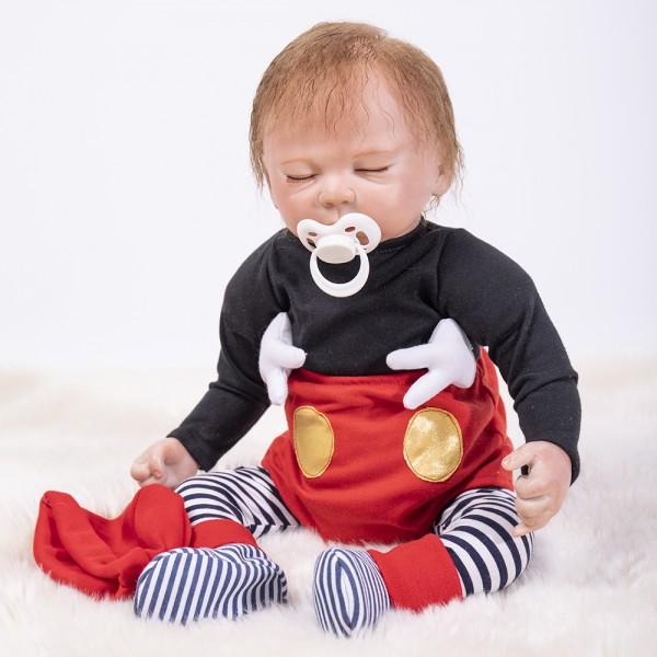 Sleeping Reborn Baby Doll Life Like Realistic Silicone Boy Doll 18.5inch