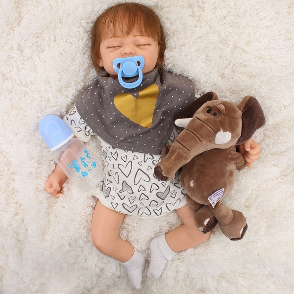 Silicone Sleeping Baby Doll Lifelike Mohair Reborn Boy Doll 18inch
