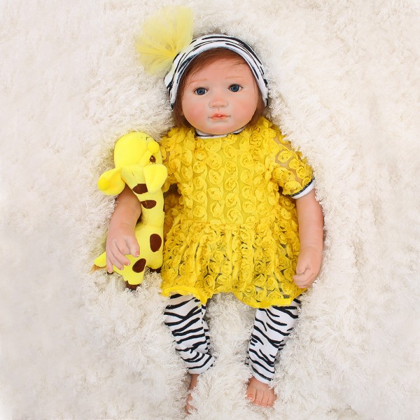 Reborn Baby Girl Doll In Yellow Dress Lifelike Silicone Doll 18inch
