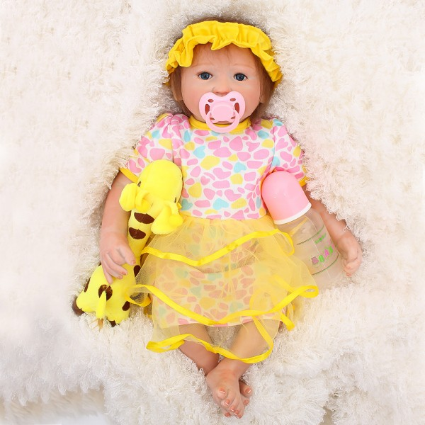 Cute Reborn Baby Doll In Yellow Dress Lifelike Silicone Girl Doll 18inch