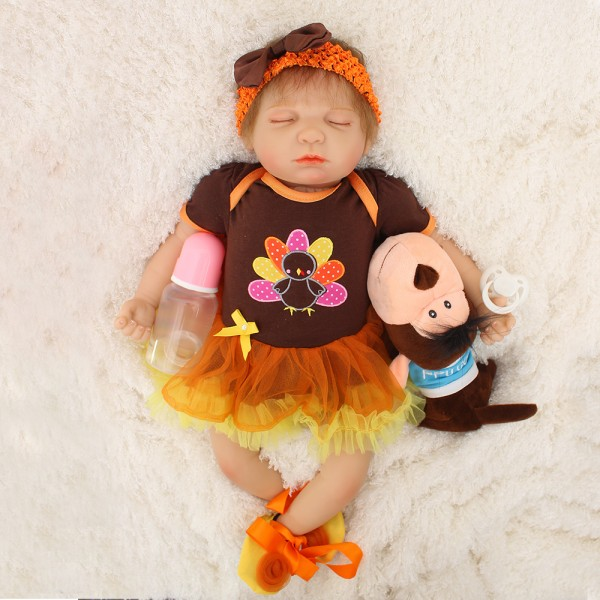 Sleeping Baby Doll In Dress Silicone Lifelike Reborn Girl Doll 22inch