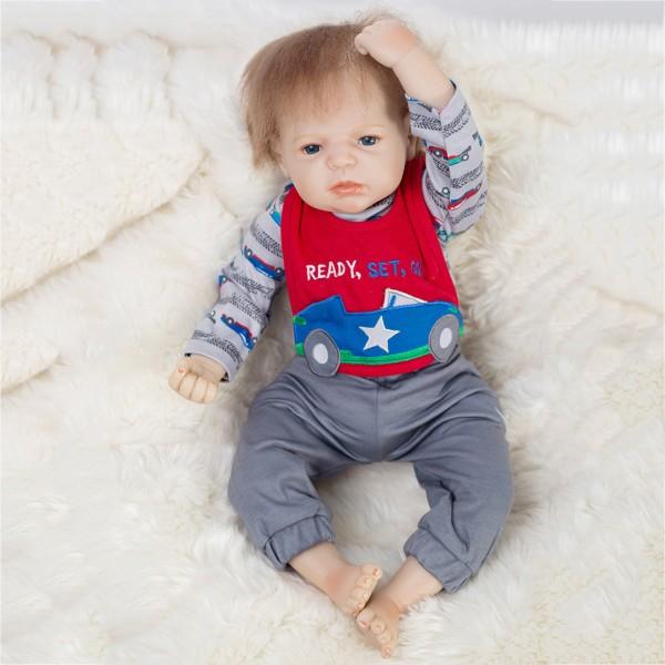 Reborn Baby Doll In Romper Lifelike Realistic Silicone Boy Doll 20inch