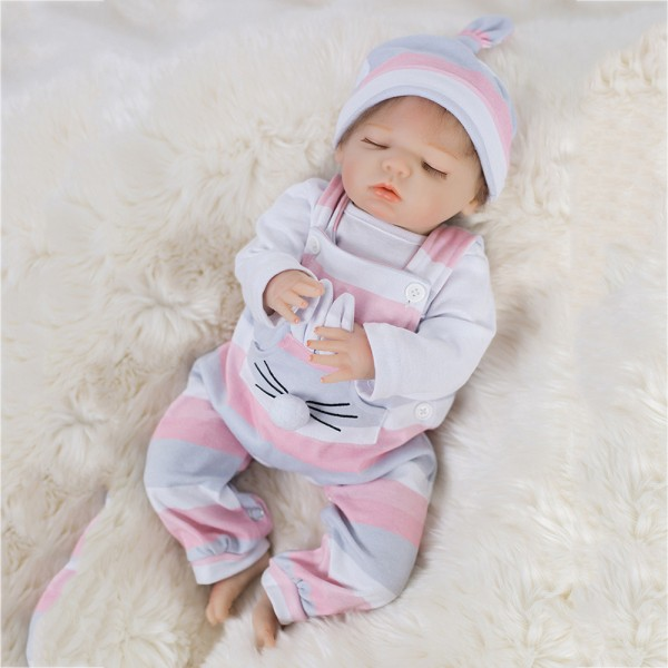 Sweet Sleeping Reborn Girl Doll Poseable Silicone Lifelike Doll 18inch