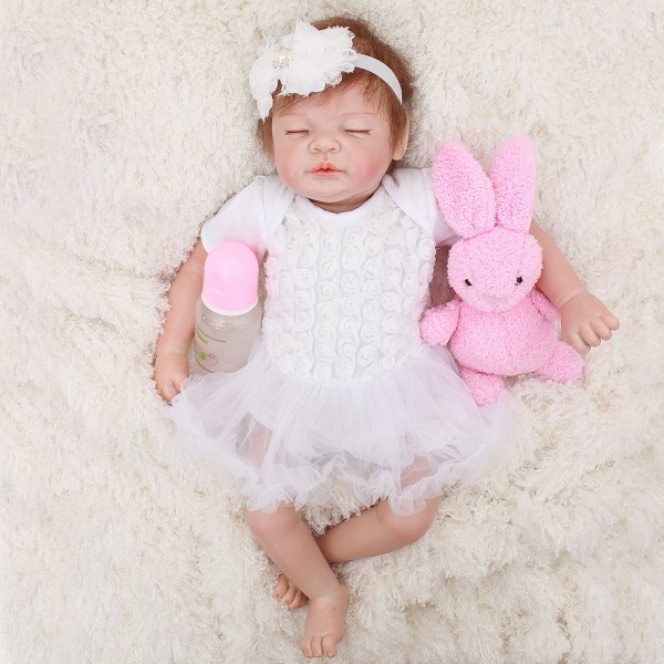 Sleeping Baby Doll In White Dress Silicone Lifelike Reborn Girl Doll 19inch