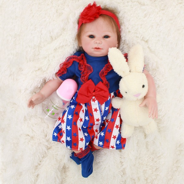 Lifelike Reborn Baby Girl Doll In Dress Silicone Baby Doll 19inch
