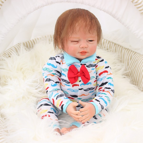 Poseable Sleepy-Eyed Reborn Baby Doll In Romper Lifelike Boy Doll 19inch