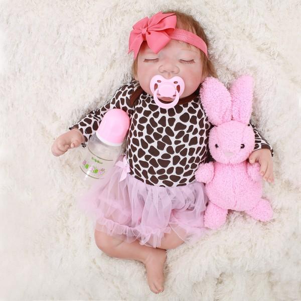 Sleeping Reborn Baby Doll Lifelike Realistic Silicone Girl Doll 18inch