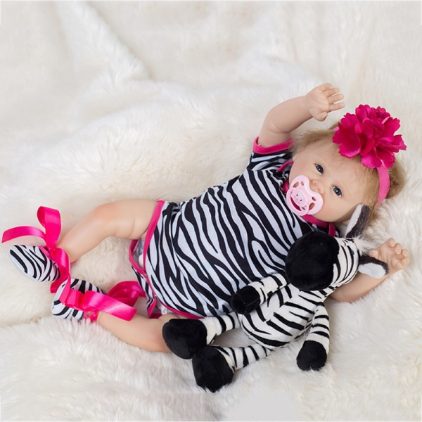 Cute Reborn Baby Doll In Zebra Romper Lifelike Silicone Girl Doll 19inch
