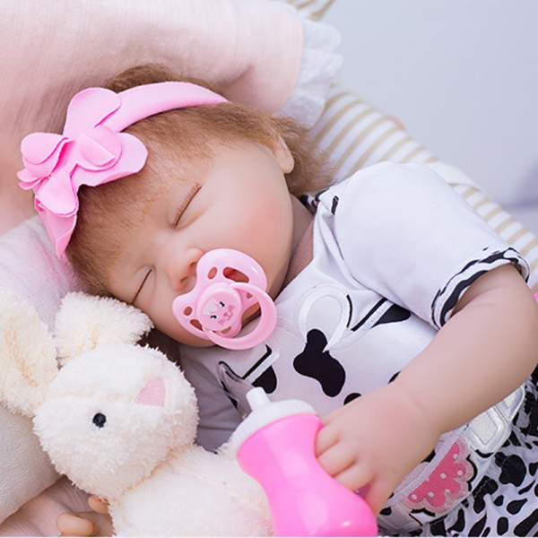 Sleeping Reborn Baby Doll In Dairy Cow Romper Silicone Lifelike Girl Doll 19inch