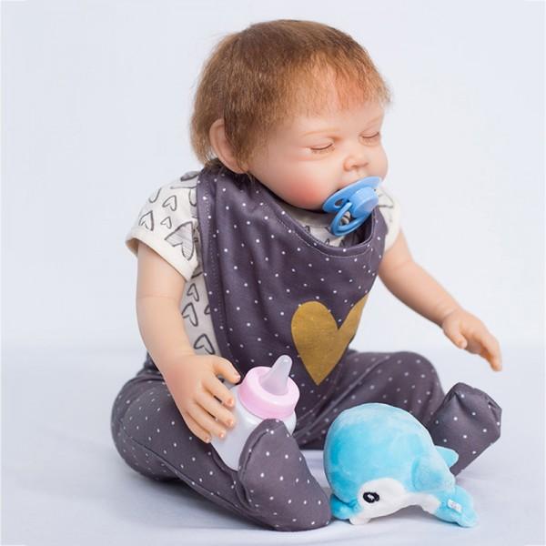Poseable Sleeping Baby Doll Silicone Lifelike Reborn Boy Doll 20inch