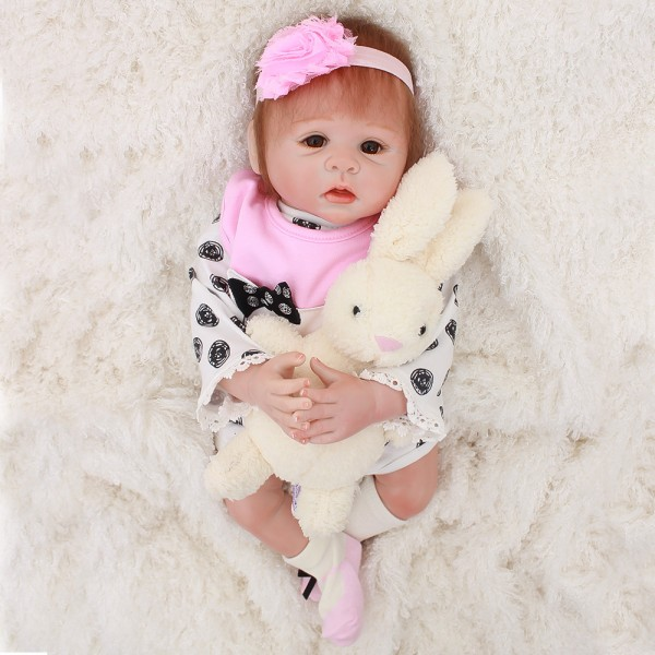 Sweet Reborn Baby Doll Lifelike Poseable Silicone Girl Doll 18inch