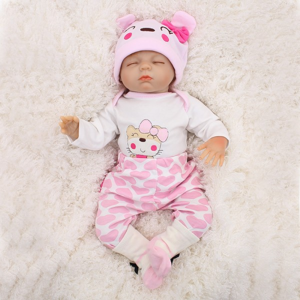 Cute Sleeping Reborn Baby Doll Lifelike Silicone Poseable Boy Girl Doll 18inch