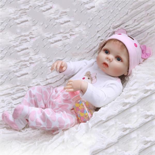 Lifelike Baby Girl Doll Silicone Realistic Reborn Doll 22inch