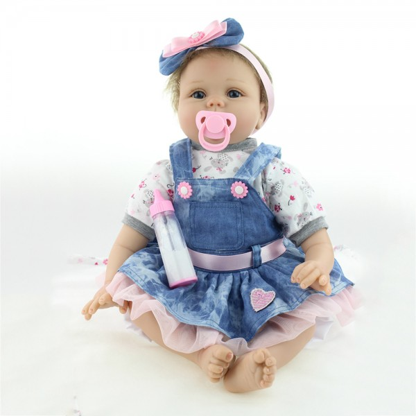 Reborn Baby Girl Doll In Denim Dress Lifelike Silicone Baby Doll 22inch
