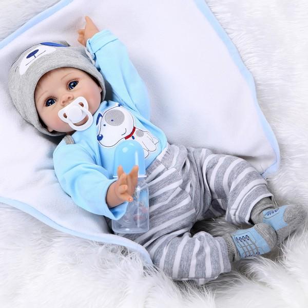 Reborn Baby Boy Doll Lifelike Realistic Silicone PP Cotton Doll 22inch