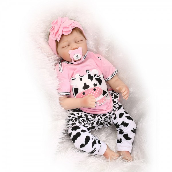 Sleeping Baby Doll In Dairy Cow Romper Lifelike Reborn Girl Doll 22inch