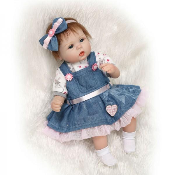 Cute Reborn Baby Doll In Denim Dress Mohair Silicone Girl Doll 16inch