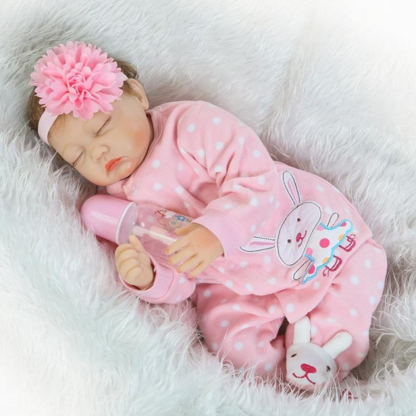 Sleeping Baby Doll Silicone Lifelike Reborn Girl Doll 22inch