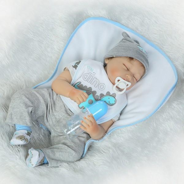 Realistic Sleeping Reborn Baby Doll Lifelike Silicone Boy Doll 22inch
