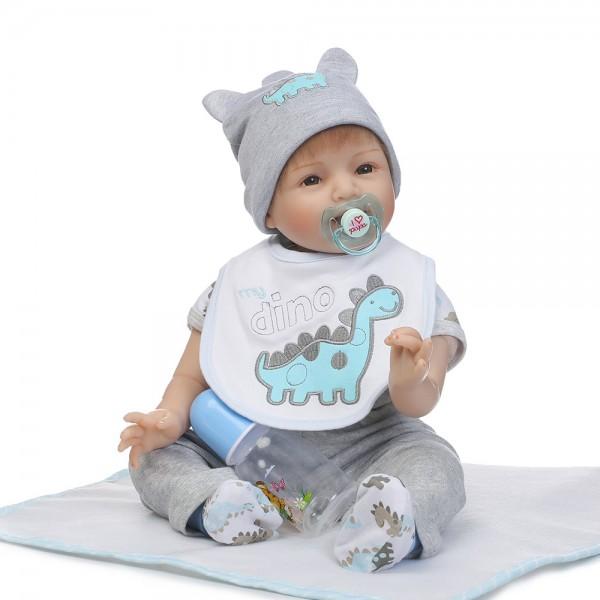 Silicone Reborn Baby Boy Doll Lifelike Realistic Baby Doll 22inch