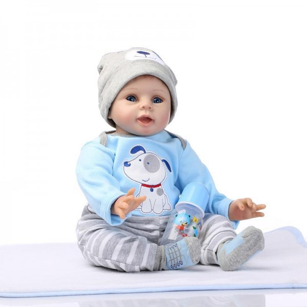Cute Boy Doll Hand Rooted Mohair Silicone Reborn Baby Doll 22inch