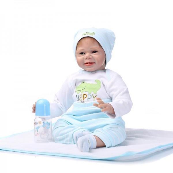 Smile Reborn Baby Doll Lifelike Silicone Boy Doll 22inch
