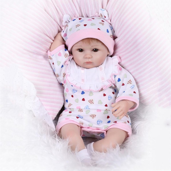 Reborn Baby Girl Doll In Romper Lifelike Silicone Baby Doll 16inch